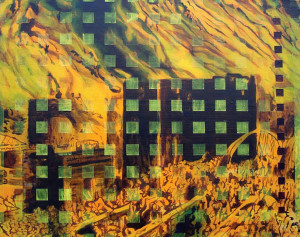 "The Great Fire   2002 Acrylic on canvas 16"" X 20"" Collection of Max DeZutter"