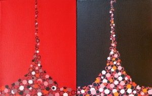 "Brown and Red Funnels   2007 Acrylic on canvas 16"" X 10"" diptych"