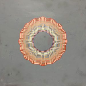 """Tart (Pastel con raya de fuego mucho mas grande)"", acrylic and glitter on wood 72""x72"" 2019"