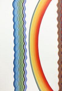 """Sideways Days, A Slight Return"", acrylic and glitter on wood panel 72"" x 48"" 2018"