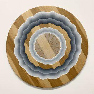 """Craftmatic Addict Minus the Static"", acrylic on wood 33"" tondo 2018-19"