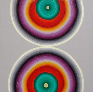 "Double Trouble Acrylic on mounted canvas 6"" X 6"""