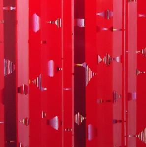 "Red Bridges Acrylic on mounted canvas 18"" X 18"""