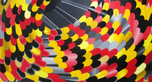 """Red Touching Yellow, Red Touching Black"" acrylic on canvas 132"" x 72"" 2014"