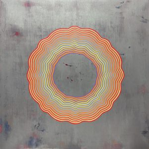 """Tart (Pastel con raya de fuego)"", acrylic and glitter on wood, 20"" x 20"" 2016"