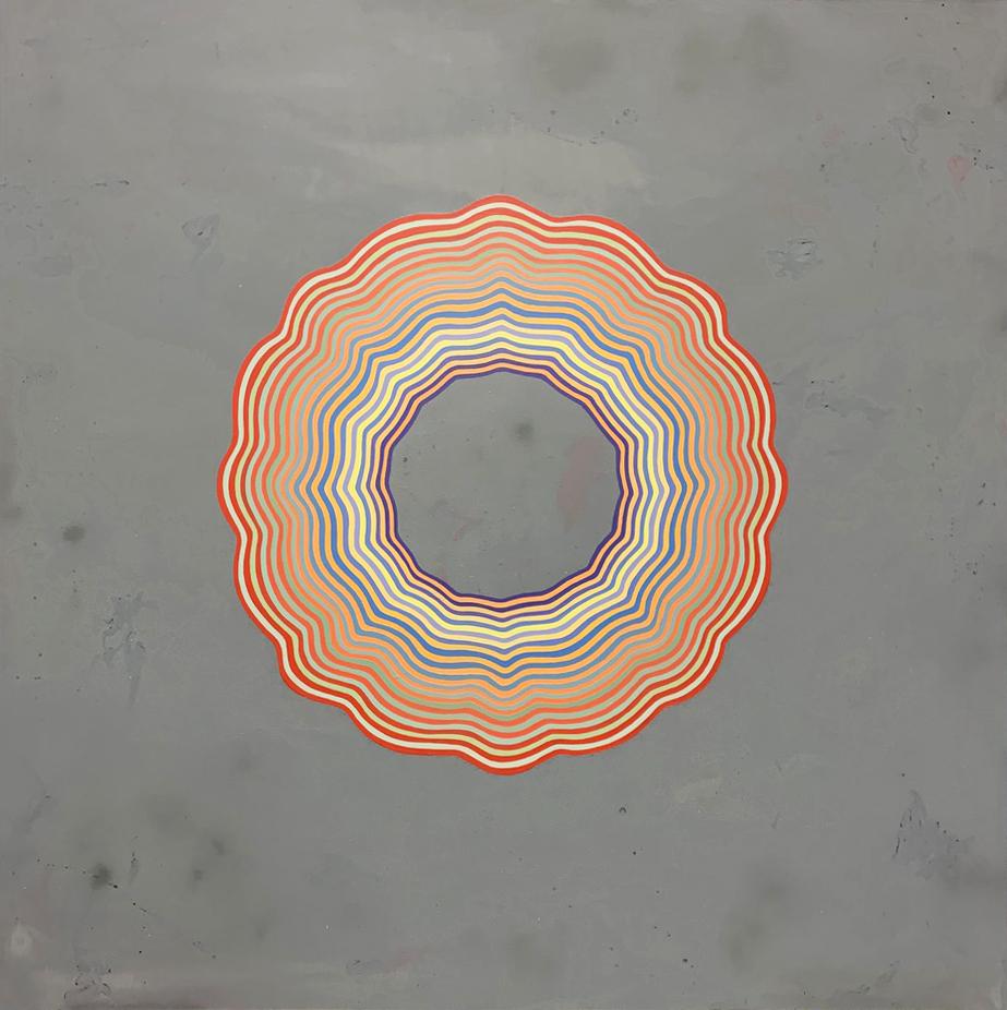 """Tart (Pastel con raya de fuego mucho mas grande, )"" acrylic and glitter on wood 72""x72"" 2019"